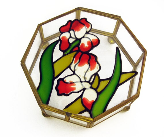 Unique Vintage Jewelry Holder - Red & White Flowers