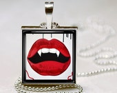 """Square Bezel Pendant  """"Vampire Girl Lips"""""""