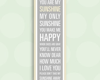 You Are My Sunshine Print - 11.75x36 inches