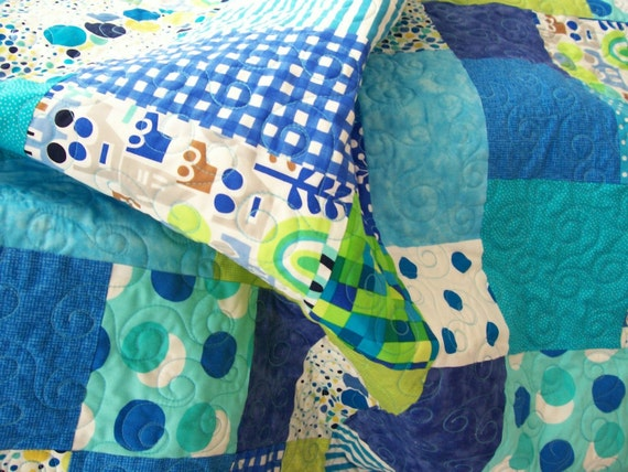 Baby Quilt - Baby Boy Blues (Free U.S. Shipping)