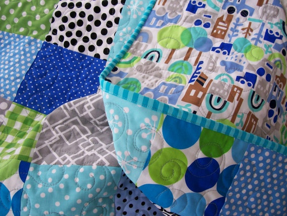 Baby Quilt - Modern Baby Boy (Free U.S. Shipping)