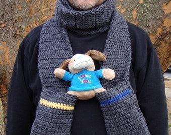 "Pocket Scarf, Crochet Scarf, Chunky Scarf, Men's Scarf, Unisex Scarf, ""Destiny"", Graphite Gray, Hand Crocheted, Winter Scarf"
