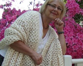 White Shawl - Best Gift for Her, Anniversary Gift, Crochet Shawl, Handmade Shawl, Natural White Shawl