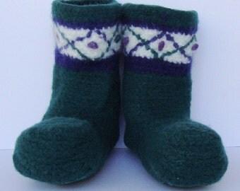 Wool Socks Men - Men's Booties, Woolen Socks, Grandpa Gift, Emerald Green Court Jester Booties, Felted Wool, size 12