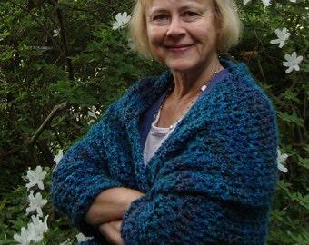 Turquoise Shawl - Crochet Shawl, Gift for Her, Emerald Green Shawl, Hand Crocheted Shawl