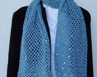 Alpaca Scarf - Women's scarves, Sky Blue, Beaded Sequined, Hand Crocheted