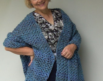 Blue Shawl - Crochet Shawl, Wraps Shawls, Gift for Her, Hand Crocheted, Evening Shawl