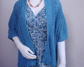 Crochet Sweater, Crochet Cardigan, Kimono Cardigan, Aqua Cardigan, Women's Cardigan Sweaters, Cotton/Hemp, Available in S/M, and M/L