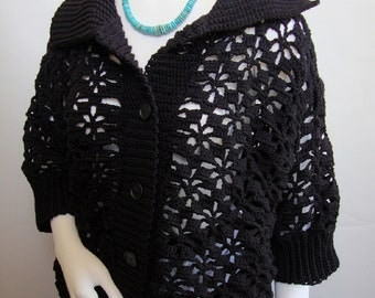 Cardigan, Crochet Sweater, Merino Wool Sweater, Black Cardigan, Crochet Cardigan, Women's Cardigan Sweaters, Gift for Her, Available in M/L