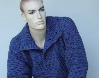 Men's Sweaters, Wool Sweater, Blue Sweater, Pullover, Colonial Blue Sweater, Optional Funnel Neck, Available in S/M, and M/L