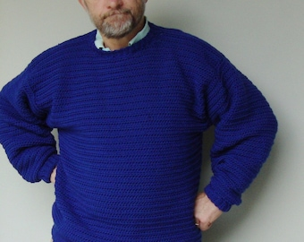 Men's Sweater, Pullover, Blue Sweater, Men's Wool Sweater, Crewneck Sweater, Royal Blue Sweater, Jumper, Available in M/L, and  L/Xl