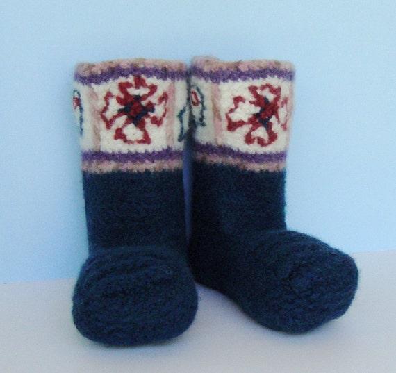 Crochet Booties, Booties, Non Skid Socks, Women's Booties, Woolen Socks, Felted Wool, Blue Knight Booties, Men's 6-7,  Women's 7 1/2 - 8 1/2