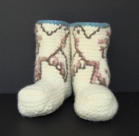 Crochet Booties, Booties, Women's Booties, White Booties, Non Skid Socks, Woolen Socks, Snowbird Booties, Felted Wool, Women's 8