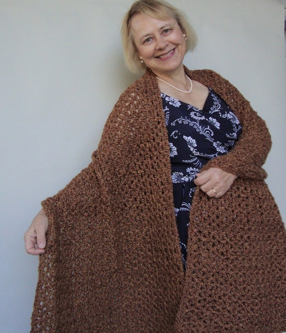 Crochet Shawl - Camel, Tan