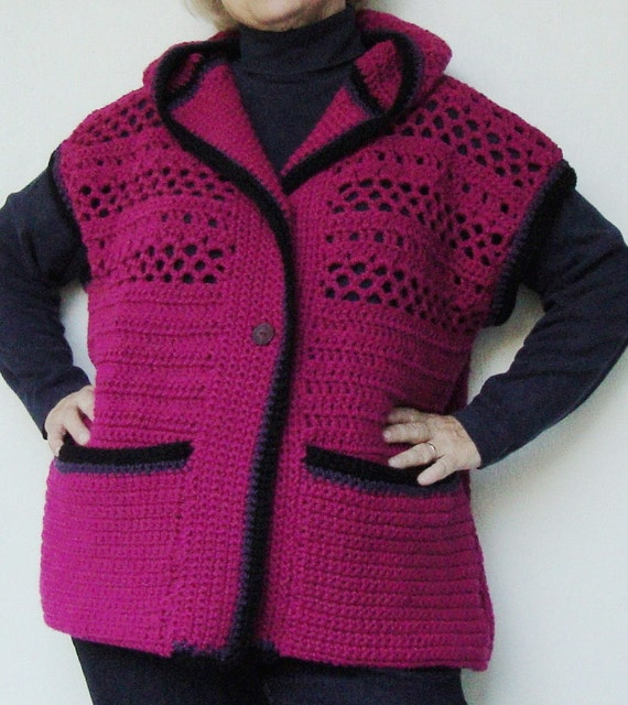 Hooded Vest, Women's Vest, Vests, Sweater Vests, Crochet Sweater, Magenta Sweater, Plus Size Clothing, Available in Plus size XL/1X