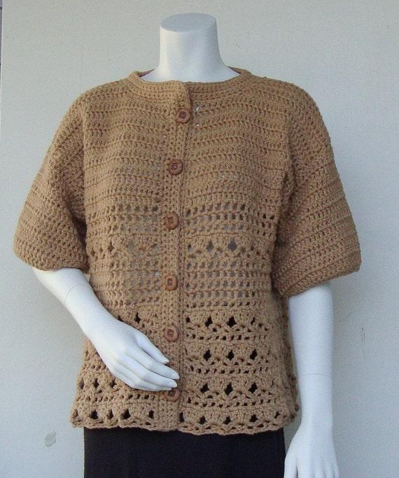 Cotton Cardigan - Tan Cardigan, Crochet Cardigan, Women's Cardigan Sweaters, Nougat Tan, Available in M