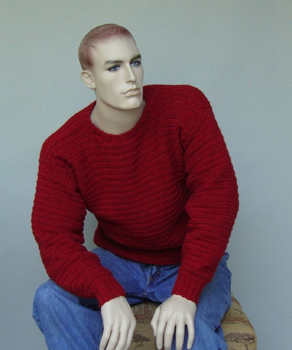 Wool Sweater, Men's Sweaters, Men's Red Sweater, Pullover, Jumper, Crewneck Sweater, Men's Christmas Sweater, Available in M