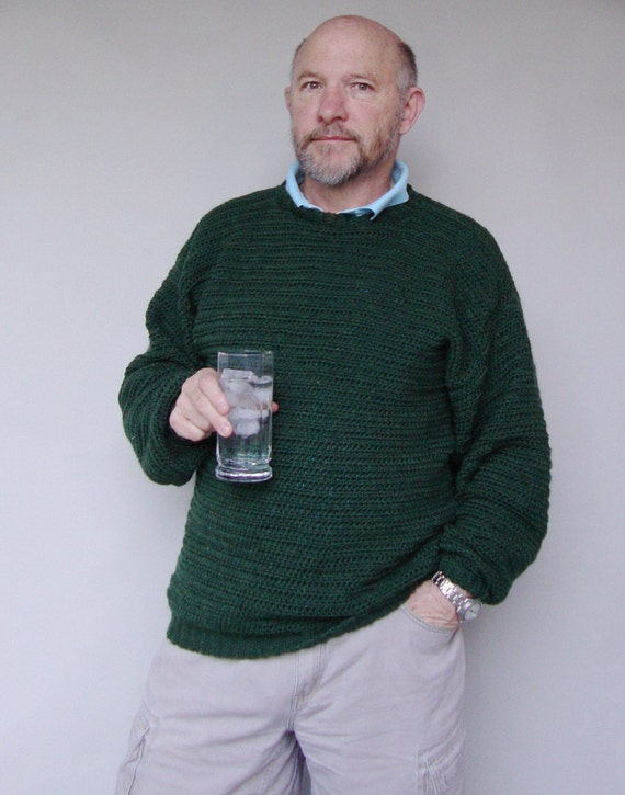 Wool Sweater, Men's Sweaters, Green Sweater, Men's Holiday Sweater, Forest Green, Crewneck Sweater, Mens Gift, Available in L