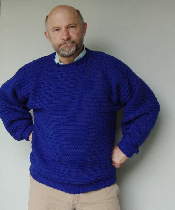 Men's Sweater Blue Sweaters Men's Wool Sweater Wool
