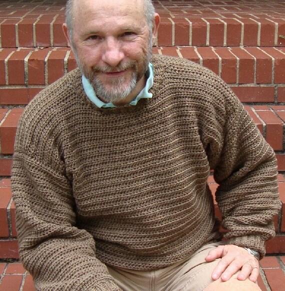 Men's Sweater - Men's Wool Sweater, Tan Sweater, Crewneck Sweater, Available in L