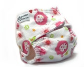 Fitted Cloth Diaper OS Flannel - Elephants Pink