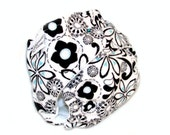 Fitted Cloth Diaper, OS, Flannel - White, Black, Aqua, Flowers