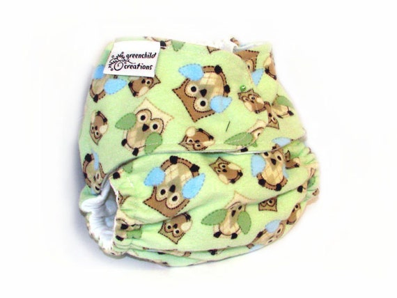 Fitted Cloth Diaper, OS, Flannel - Owls, Argyle, Green