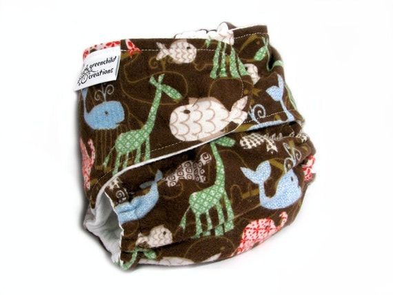 Fitted Cloth Diaper, OS, Flannel - Brown, Fish, Whale, Giraffe, Elephant, Alligator