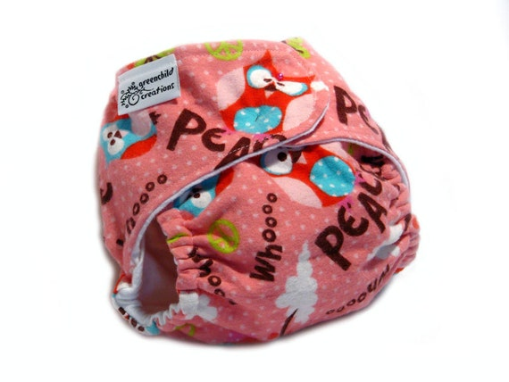 Fitted Cloth Diaper, OS, Flannel - Owls, Pink, Peace