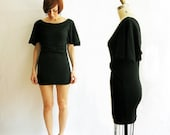 Summer SALE - Xsmall to small - Bamboo viscose & Organic cotton jersey kimono tunic - Black / Last one