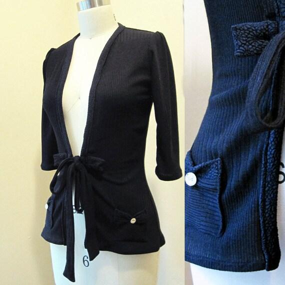 Cardigan / Sweater - Jet Black Knit - XS, S, M, L