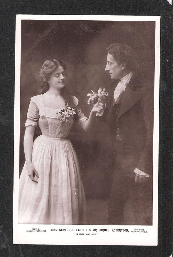 RP British Edwardian Stage Star Actor Miss Gertrude Elliott Mr forbes Robertson In Mice and Men  Theatre theatrical playscene