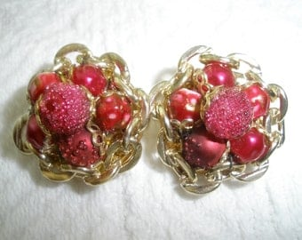 Vintage Earrings Clip On Hong Kong Retro Costume Jewelry Round Red and Gold Tone