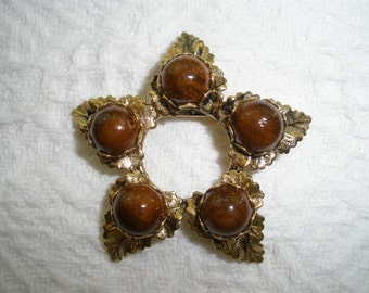 Vintage Brown Faux Stone and Gold Tone Leaf Brooch Pin Fall Costume Jewelry