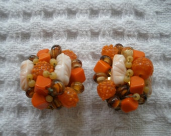 Vintage Earrings Clip On Orange Beads Gold Tone Stamped Japan Retro Costume Jewelry
