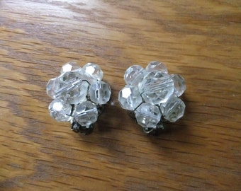 Vintage Earrings Clip On Clear Beads Silver Tone Costume Jewelry