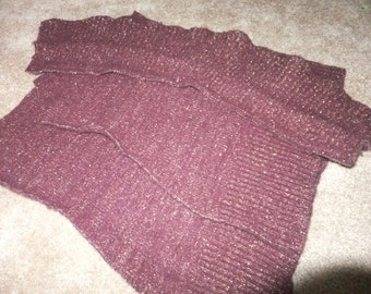 Felted Wool Rabbit Hair Nylon Blend Sweater Remnants Burgundy Gold Glitter