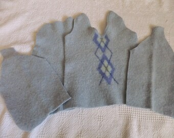 Felted Lambswool Sweater Remnants Pale Blue Argyle Recycled Wool Fabric Material Upcycled