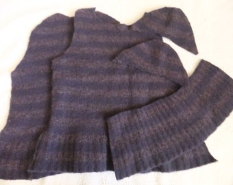 Felted Merino Wool Nylon Blend Sweater Remnants Purple Stripe Recycled Fabric Material Upcycled