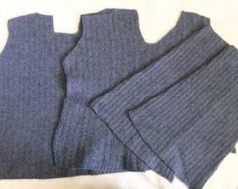 Felted Lambswool Nylon Blend Sweater Remnants Blue Recycled Wool