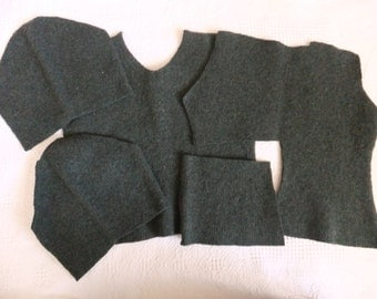 Felted Merino Wool Sweater Remnants Green Recycled