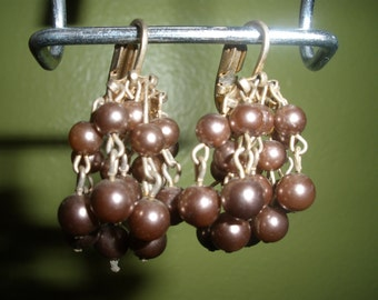 Vintage Earrings Clip On Brown Bead Dangly Retro Costume Jewelry Gold Tone