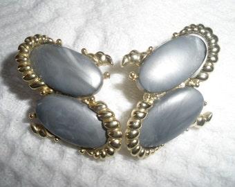 Vintage Earrings Clip On Kramer Gray Oblong Gold Tone Designer Retro Costume Jewelry
