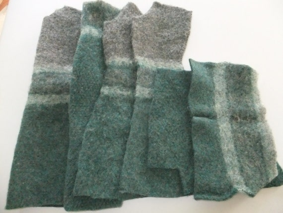 Felted Wool Sweater Scraps Remnants Green Gray Stripe Recycled