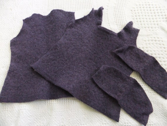 Felted Merino Wool Sweater Remnants Purple Recycled Fabric Material