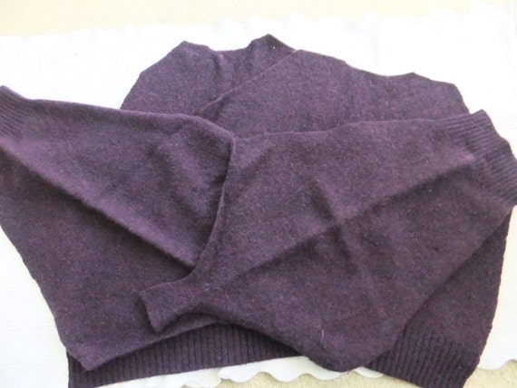 Felted Shetland Wool Sweater Remnants Purple Eggplant Recycled Fabric Material