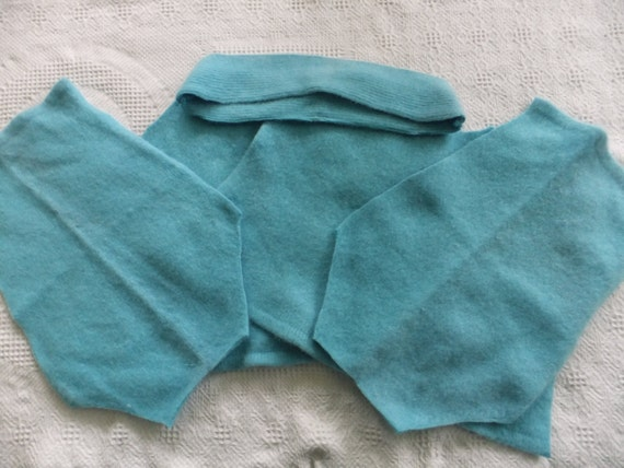 Felted Angora Lambswool Blend Sweater Remnants Aqua Blue Recycled Wool Fabric Material