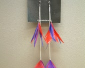 Purple and red feather earrings
