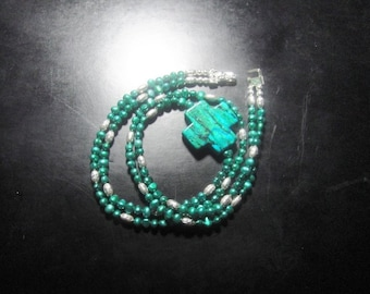 For the Love of Nature   (Carved Chrysocolla Cross Necklace)