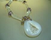 45mm Druzy Amethyst Rock Crystal Necklace